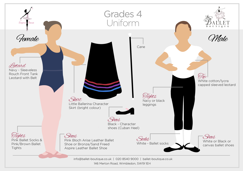 Grade 4 Ballet Uniform Card