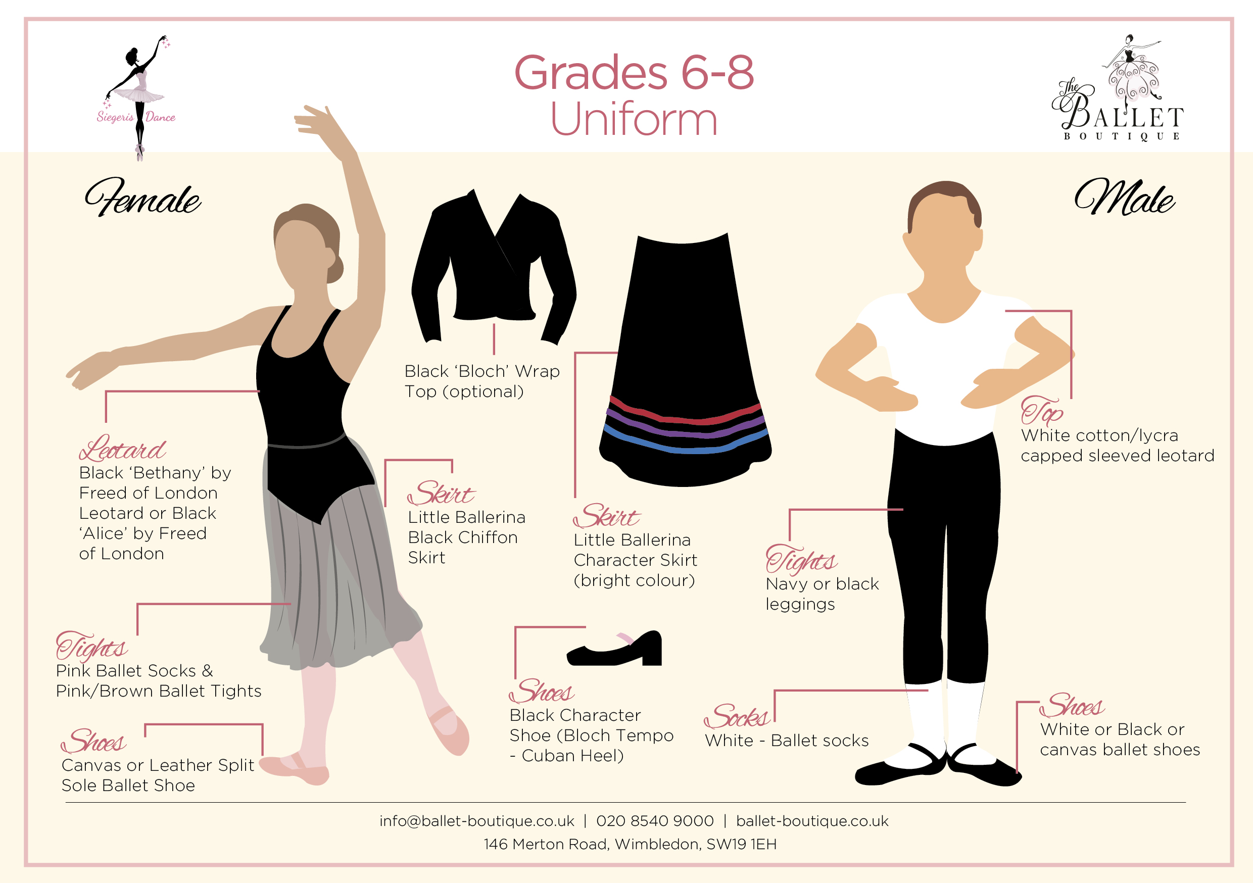 Grade 6 to 8 Ballet Uniform Card
