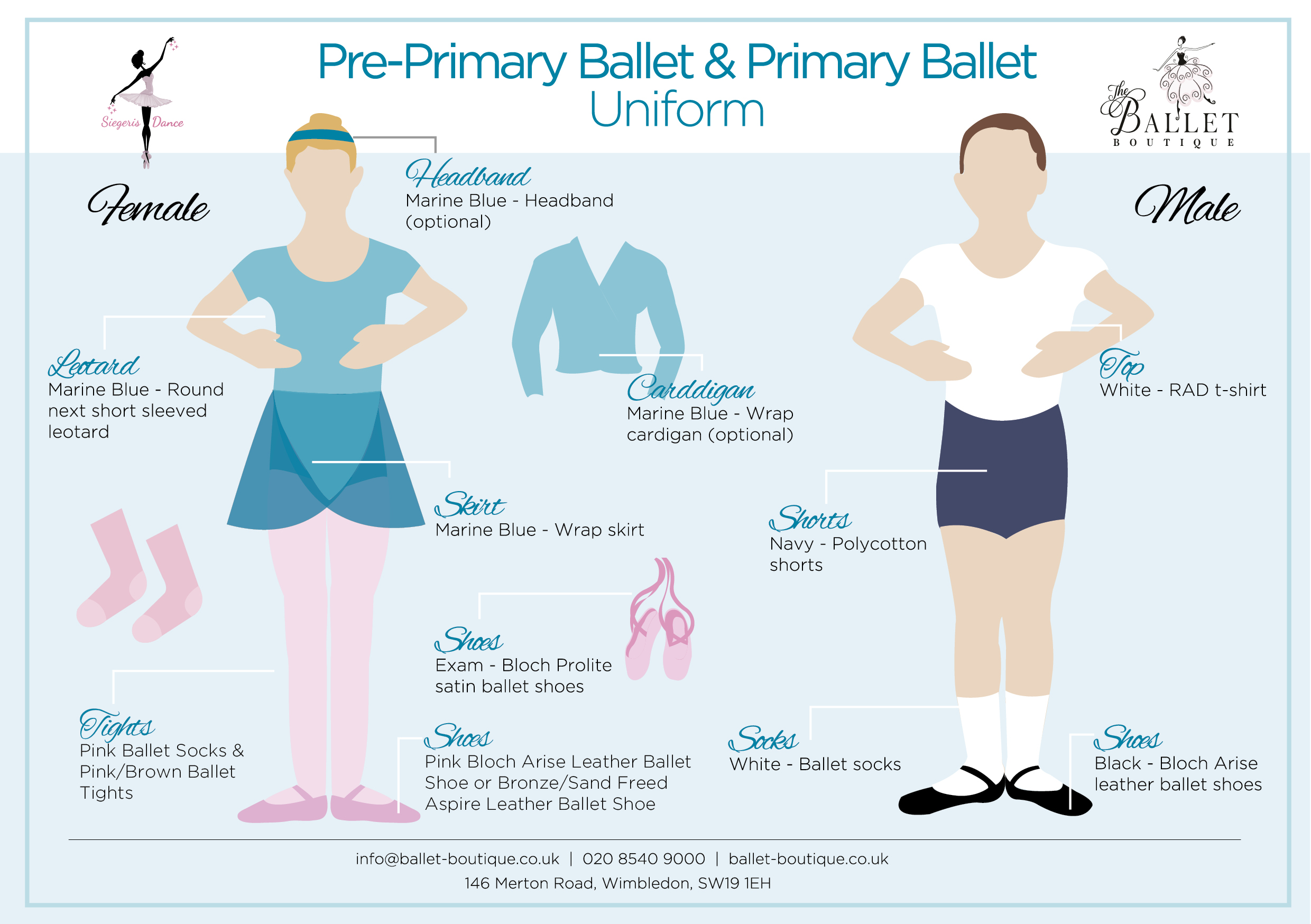 Pre Primary & Primary Ballet Uniform Card